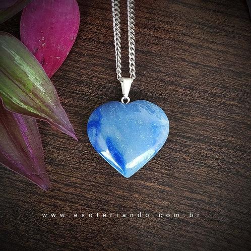 Colar Coração quartzo Azul