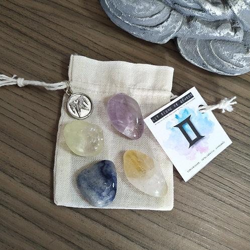 Kit signo de Gêmeos - cristais de bolso + pingente