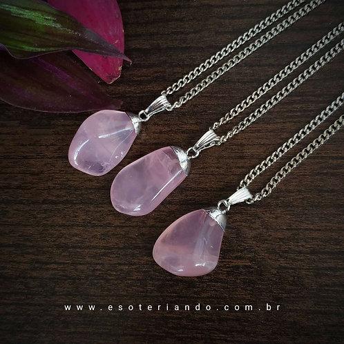 Colar Quartzo Rosa Premium - Amor e Autoestima