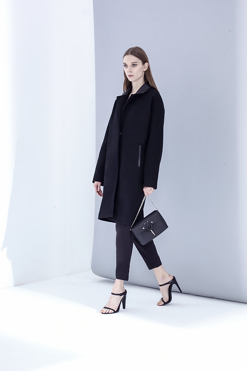 WOOL COAT WITH LEATHER