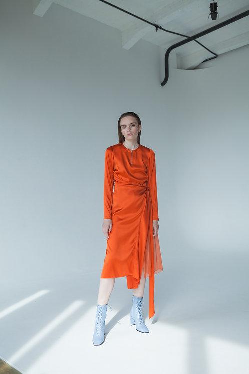 SILK DRAPPED ORANGE DRESS