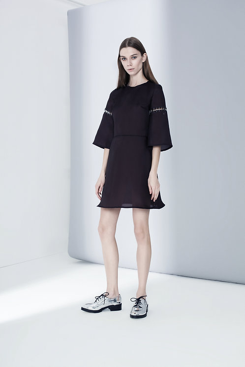 ORGANZA DRESS WITH HEMATITE STONES ON THE SLEEVES