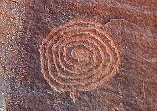 Spiral petroglyph at the V-Bar-V Ranch, Verde Valley, Arizona.