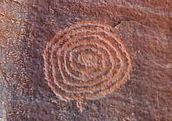 Spiral petroglyph at the V-Bar-V Ranch, Verde Valley, Arizona.