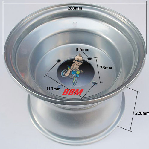 ATV 10 inch rear steel rim