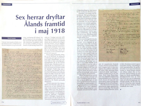 Sex herrar dryftar Ålands framtid 1918
