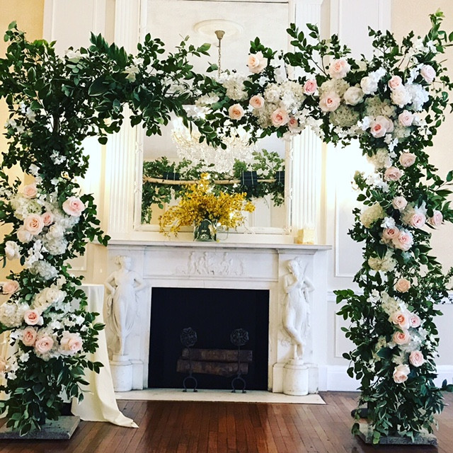 Elegant ceremony flower arch in NYC