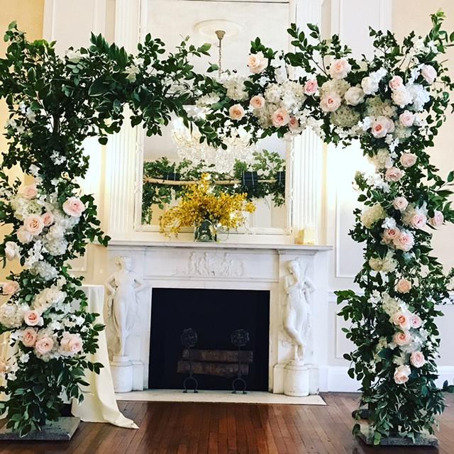 Elegant ceremony flower arch in NYC