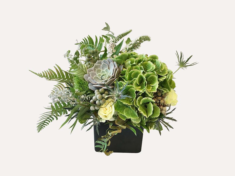 Flower arrangement in green