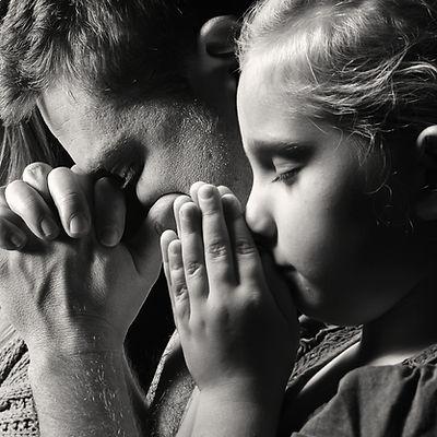 Praying family. Man, woman and child. MA