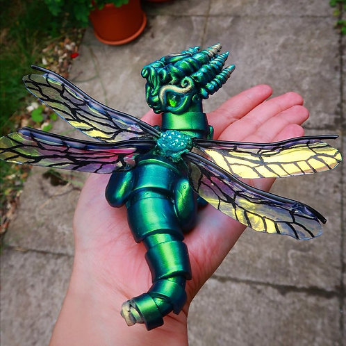 Delia - The Dragonfly Dragon with Moonlit Wings - Polymerclay OOAK Sculpture
