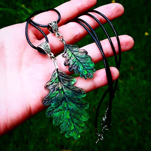 Green Opal Resin Oak Leaf Necklaces (Large or Small)