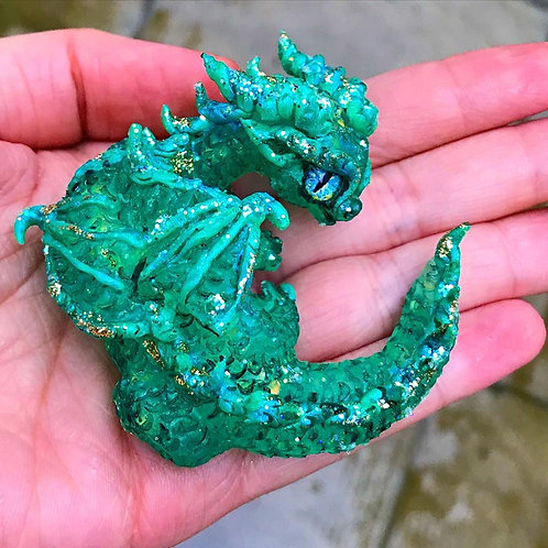 Iridescent Mint Baby Resin Dragon