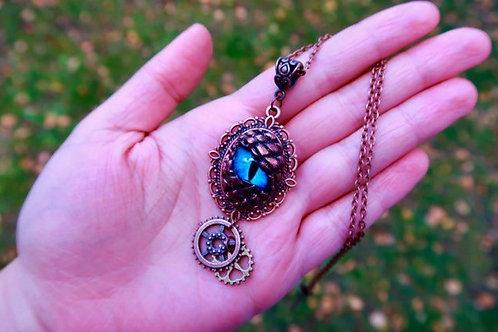 Dark Copper Blue Dragon Eye Steampunk Necklace
