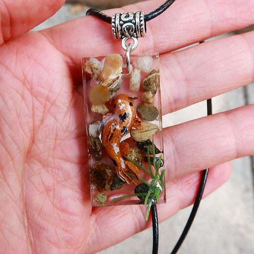 Gold koi fish in resin necklace - cute zen pond pendant