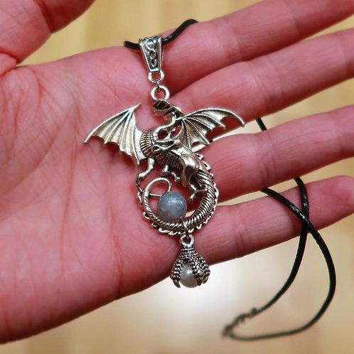 Silver Dragon Claw labradorite and faux pearl pendant