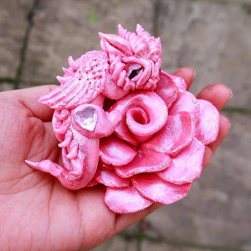 Pink Rose Dragon 'Velvet' Cute Sculpture