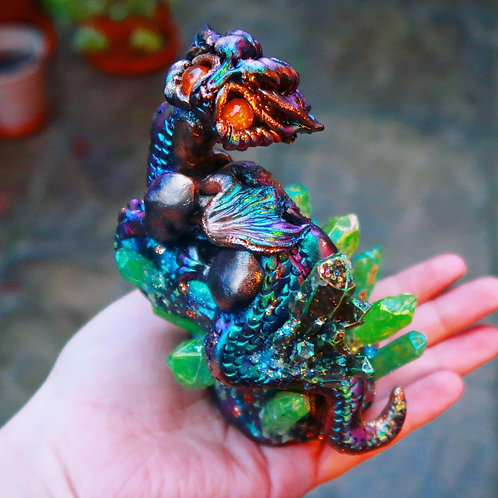Galaxy Green, Purple and Amber Crystal Space Dragon 'Meteor' Sculpture