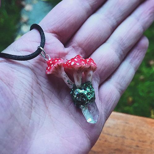 Triple mushroom and moss quartz pendant: alternative fairy pagan nature pendant