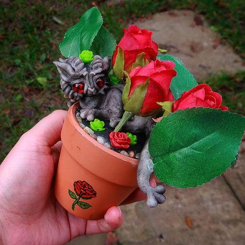 Potted Rose Dragon 'Rosilus' Valentine's Sculpture