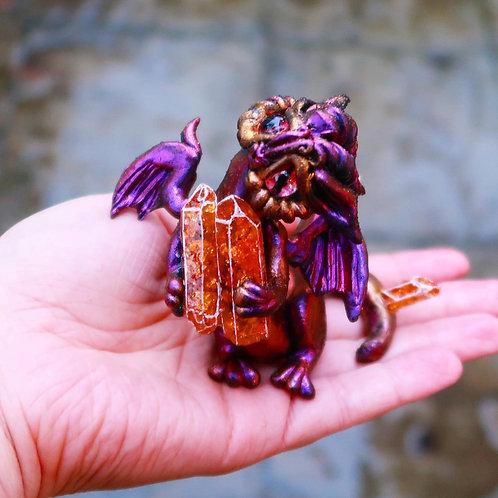 Purple and Orange Crystal Dragon 'Tielra' Sculpture