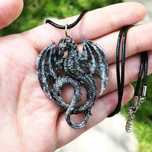 Silver Resin Dragon Necklace