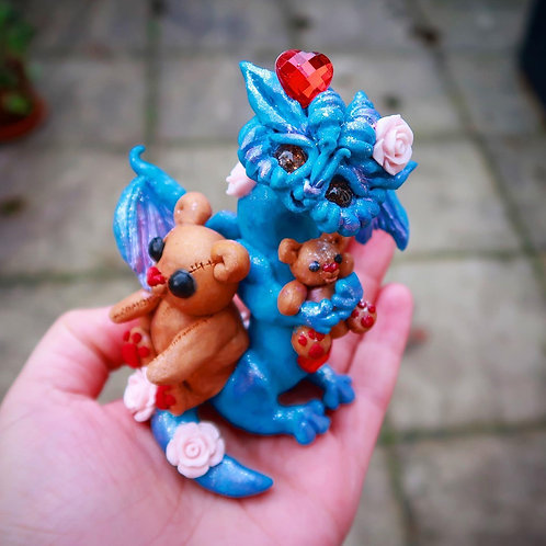 Teddy and Rose Dragon 'Tiana' Valentine's Day Sculpture