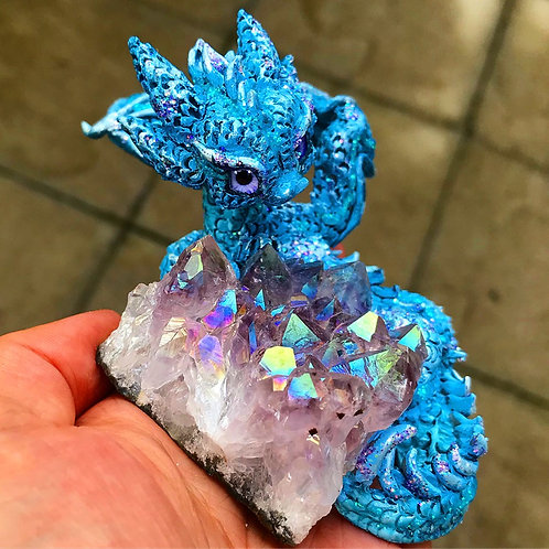 Ellina - Blue Amethyst Aura Crystal Dragon