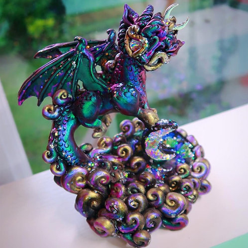 Diana - The Holographic Moon Bearer Dragon - Polymerclay OOAK Sculpture