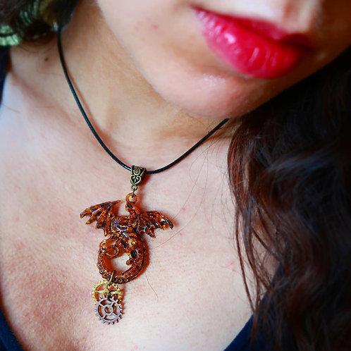 Steampunk Dragon Resin Gold Leaf Necklace