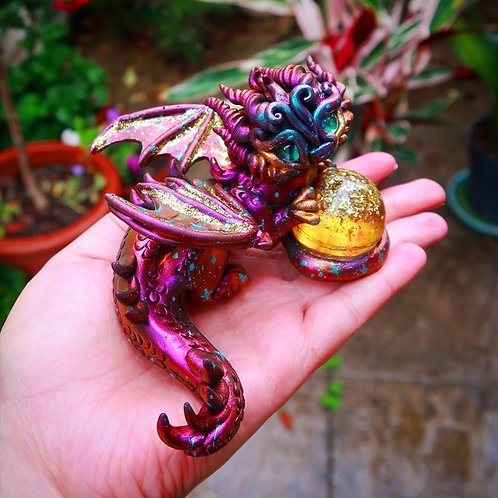 Gleam - The Celestial Gold Crystal Ball Dragon - Polymerclay OOAK Sculpture