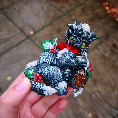 Snowy Holly Lantern Dragon 'Rowan' with detachable bell necklace