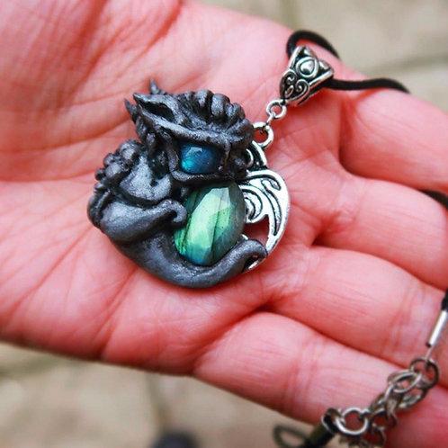 Labradorite Dragon Silver Pendant: cute mini dragon crystal healing jewelry jewe