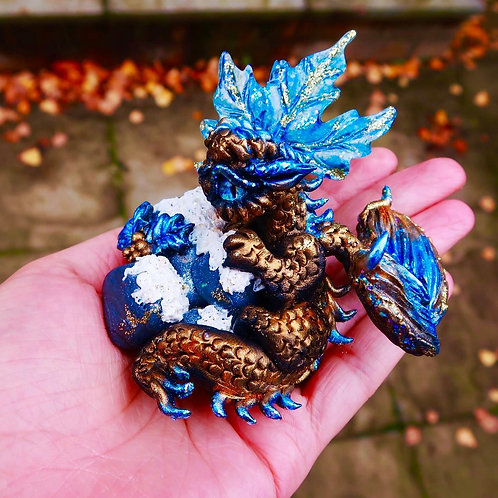 "Icy Gold and Blue Leaf Dragon ""Ravenna"" Figurine"
