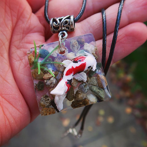Koi fish in resin necklace - cute zen pond
