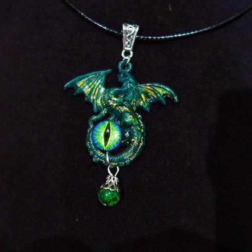 Green Resin Dragon Eye pendant