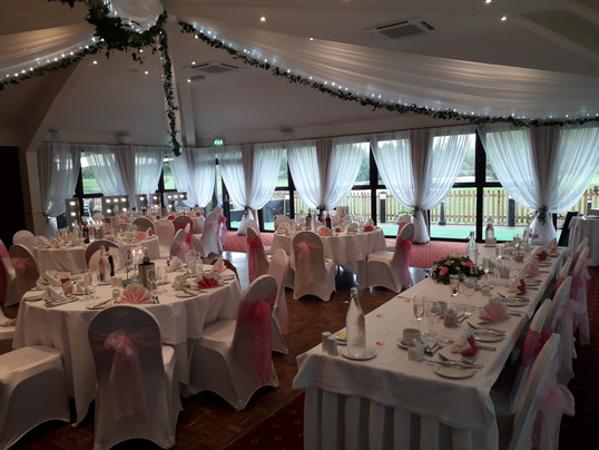 fairy lights and pink colour scheme