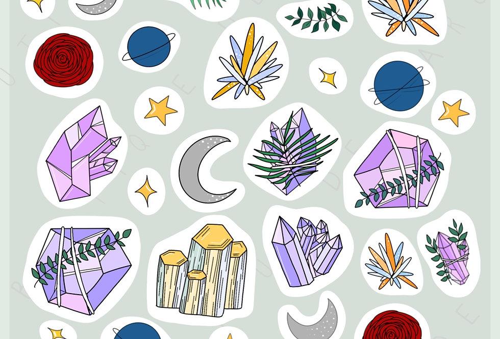 """Stickers """"Cristaux mystiques"""" - Janvier 2019"""