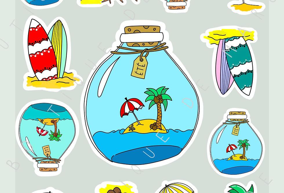 "Stickers ""Beach Please !"" - Juillet"
