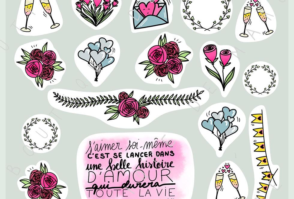 """Stickers """"Amour"""" - Février 2019"""