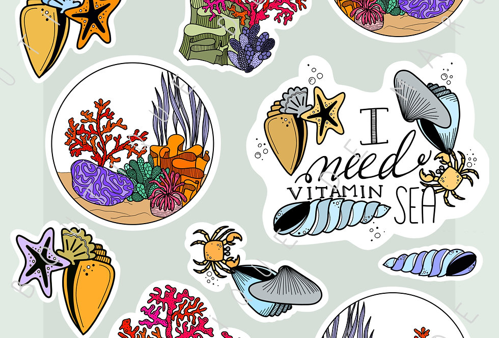 """Stickers """"Récif corallien"""" - Juin"""