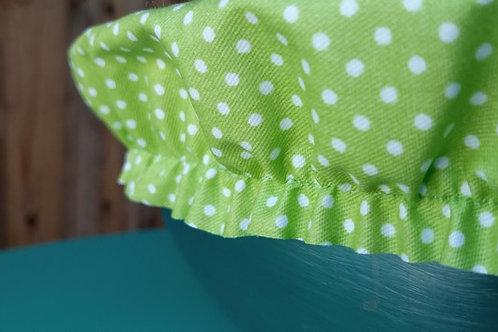 Grande charlotte protège assiette et saladier en coton enduit vert anis à pois