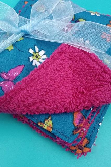 Lot de 5 lingettes coton lavables fleurettes