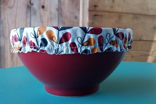 Charlotte couvre bol en coton enduit feuilles multicolores