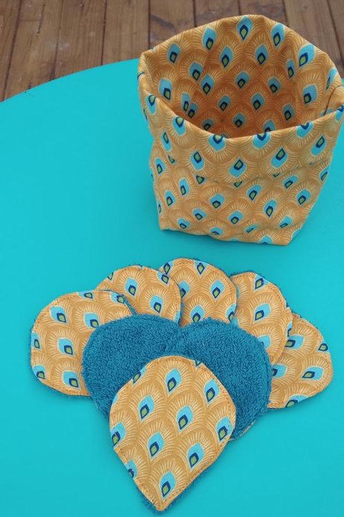 8 lingettes lavables et leur panière Paon