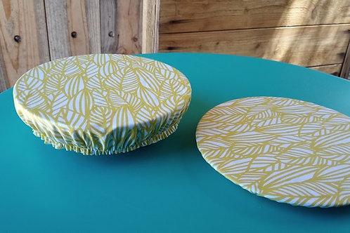 Charlotte protège assiette à dessert et bowl en coton enduit feuilles jaunes