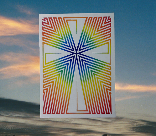 Rainbow Daggers Cross of Jesus Magnet, 6x4