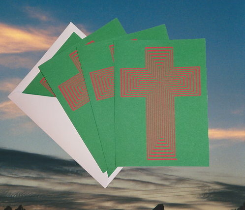 4 pack, 'Amazing Cross' decorated Christmas greeting card, 5x7