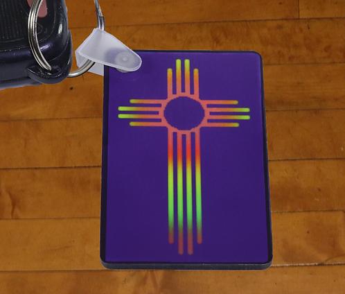 Rainbow Southwest Cross Decorated MDF Hardboard Keychain, 1.5x2.5 inches