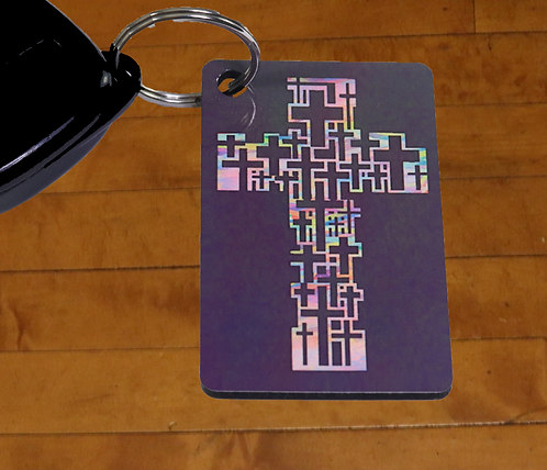 Rainbow MultiCross Cross Decorated MDF Hardboard Keychain, 1.5 x 2.5 inches
